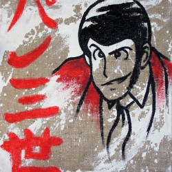 Lupin - Serie Lupin III Dipinto a mano su Juta grezza