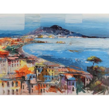 """Luigi Florio""""Dolce Napoli"""", Fine Art Tecnique picture with Neaples Landscape"""