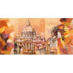 """Luigi Florio - """"Splendida Roma"""". Quadro con Stampa Alta Risoluzione con Roma in Misure Multiple e Grande Formato"""
