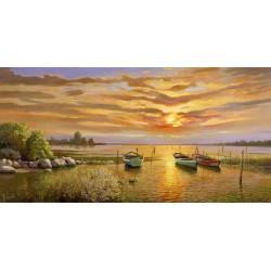 Galasso-Laguna al Tramonto-Stampa Artistica ad Alta Risoluzione su Tela Canvas e possibilità di Ritocco Materico