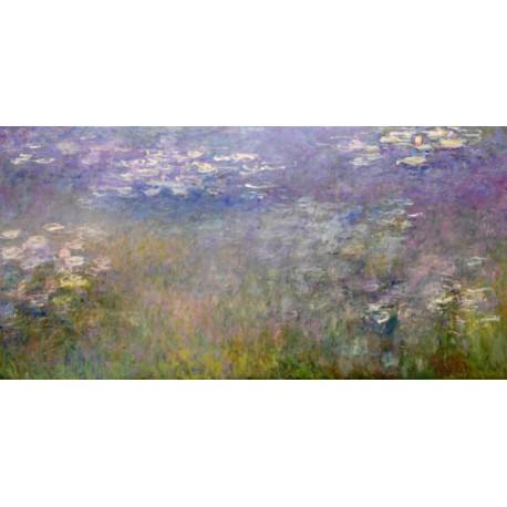 Claude Monet-Water Lilies. Stampa ad Alta Risoluzione delle Classiche Ninfee su Tela Canvas e possibilità di Ritocco Materico