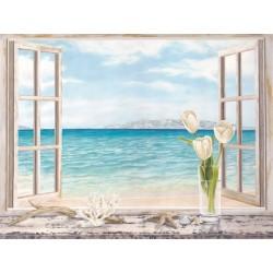 """Dellal """"Vista sull'Oceano"""", Stampa D'Autore con Finestra in Misure e su Supporti Diversi"""