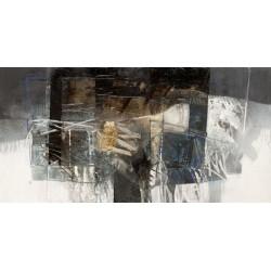 Censini -La valle dai riflessi di Creta - Quadro Astratto con Pennellate in Bianco e Nero, Stampa Fine Art su Tela Canvas