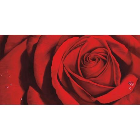 """Luca Villa """"Madame""""- Quadro Floreale con rosa rossa su canvas di cotone al 100%"""