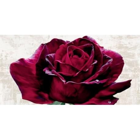 """Teo Rizzardi """"Purple Dame""""- Quadro Floreale con rosa rossa su canvas di cotone al 100%"""