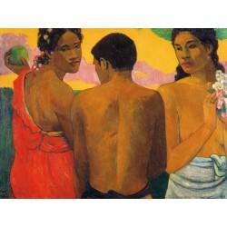 """Gauguin Paul """"Three Tahitians """" - Quadro Pronto con Stampa Fine Art per Soggiorno, Ufficio o altro"""