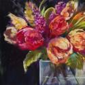Bundles of Joy I - Nel Whatmore - Quadro con Tulipani pittorici Romantici - Stampa d'Autore su Tela Cotone per Soggiorno
