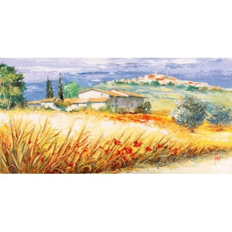 """Luigi Florio - """"Casa in collina"""". Quadro con Stampa Alta Risoluzione in Misure Multiple e Grande Formato"""