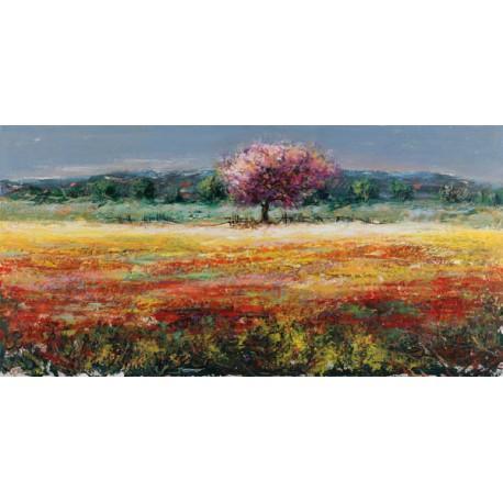 """Luigi Florio - """"L'albero rosa"""". Quadro con Stampa Alta Risoluzione con New York in Misure Multiple e Grande Formato"""