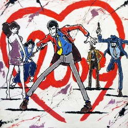 "Lupin III,""Love"" Totally Haindpainted Picture, Raw Juta Based"
