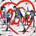 """Lupin III,""""Love"""" Quadro Dipinto Interamente A Mano su Esclusivo Supporto in Juta Grezza"""