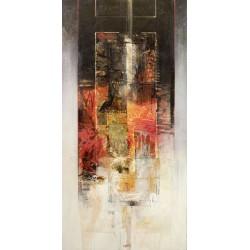 Censini -sinfonia in rosso Quadro Astratto con Pennellate in Bianco e Nero, Stampa Fine Art su Tela Canvas