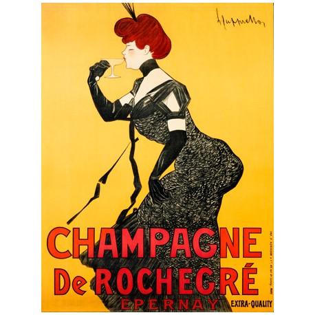 Champagne De Rochegré - Leonetto Cappiello . Quadro Vintage con Stampa Fine Art su Canvas o Carta.