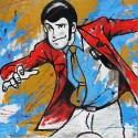 """Lupin Terzo""""Action"""" Quadro Dipinto A Mano Singolarmente su Esclusivo Supporto in Juta Grezza"""