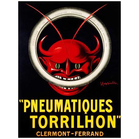 Leonetto Cappiello Pneumatiques Torrilhon Quadro Vintage con Stampa Fine Art su Canvas o Carta.