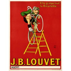 Anonimous - Louvet Bicycles. Quadro Vintage con Stampa Fine Art su Canvas o Carta.