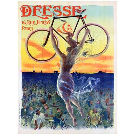 Anonymous Bicycle Déesse, 1898 Quadro Vintage con Stampa Fine Art su Canvas o Carta.