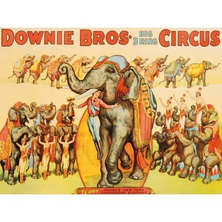 Anonymous Downie Bros. Big 3 Ring Circus, 1935 Quadro Vintage con Stampa Fine Art su Canvas o Carta.