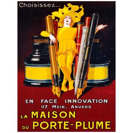 Jean D'Ylen La Maison du Porte-Plume, 1924 Quadro Vintage con Stampa Fine Art su Canvas o Carta.