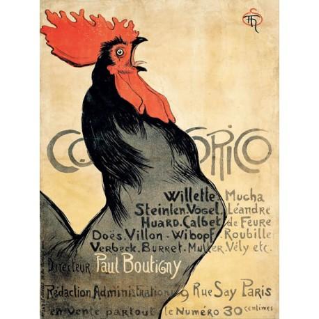 Théophile Alexandre Steinlen Cocorico Quadro Vintage Stampa Fine Art su Canvas o Carta.