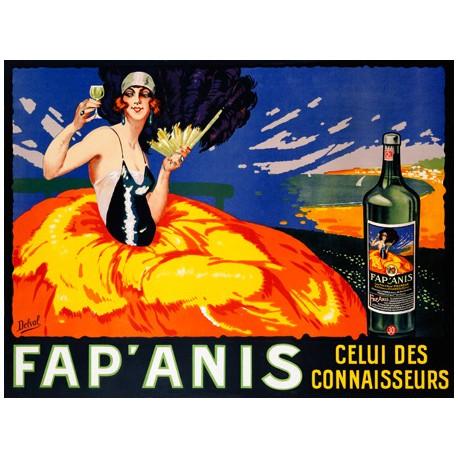 Delval Fap' Anis, ca. 1920-1930 Quadro Vintage con Stampa Fine Art su Canvas o Carta.
