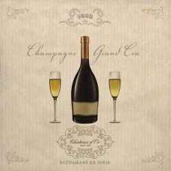 Champagne Grand Cru, Sandro Ferrari - Stampa d'Autore su Tela Cotone per Soggiorno o altro
