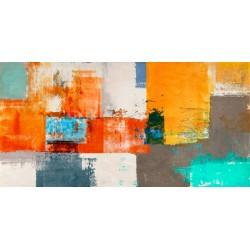 Barcelona - Alessio Aprile - Quadro Astratto stilizzato dai colori vivaci, Stampa Fine Art su Tela Canvas