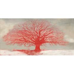 Alessio Aprile Red Tree - Quadro Astratto stilizzato dai colori vivaci, Stampa Fine Art su Tela Canvas