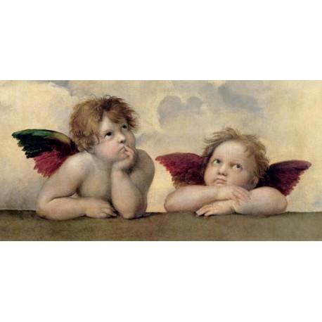 Angeli Madonna Sistina (dettaglio)-Raffaello.Stampa Altissima Qualità. Tela, Poster o Quadro Pronto.