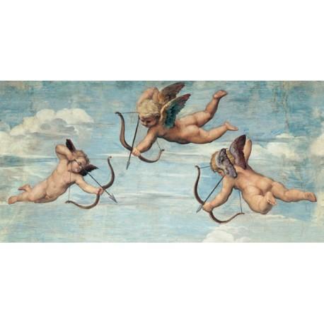 Trionfo di Galatea (dettaglio con Angeli)-Raffaello.Stampa Altissima Qualità. Tela, Poster o Quadro Pronto