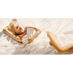 In Sunlight, Pierre Benson - Quadro Moderno con Nudo di Donna tra le Lenzuola per Soggiorno o Camera da Letto