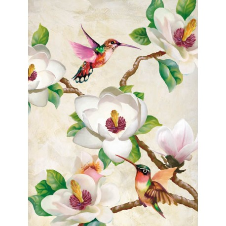 """""""Magnolia and Humming Birds"""",Terry Wang.Elegant Picture with Tree Branches, White Flowers and Birds"""