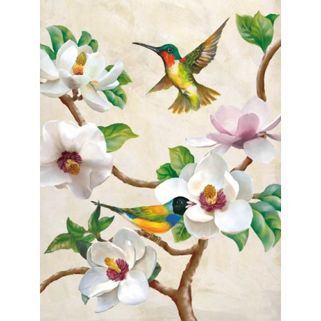"""""""Magnolia and Birds"""",Terry Wang.Elegant Picture with flying Birds, White Flowers and Tree Branches"""