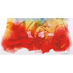 Nino Mustica, Venerdi 12 marzo 2010 b -Quadro Astratto con Pennellate in Bianco e Nero, Stampa Fine Art su Tela Canvas