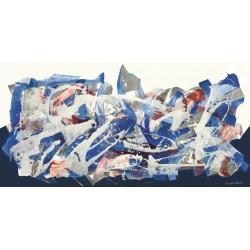 Nino Mustica, senza titolo 2012, II -Quadro Astratto con Pennellate in Bianco e Nero, Stampa Fine Art su Tela Canvas