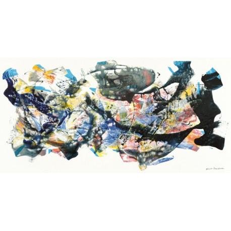 Nino Mustica, senza titolo 2012, I -Quadro Astratto con Pennellate in Bianco e Nero, Stampa Fine Art su Tela Canvas