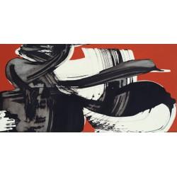 Nino Mustica, Sabato 20 luglio 1996 -Quadro Astratto con Pennellate in Bianco e Nero, Stampa Fine Art su Tela Canvas