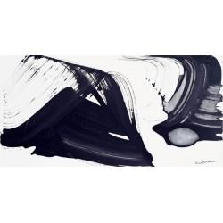 Nino Mustica, 1996 venerdi 12 aprile -Quadro Astratto con Pennellate in Bianco e Nero, Stampa Fine Art su Tela Canvas