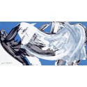 Nino Mustica, 1996 lunedi 2 settembre -Quadro Astratto con Pennellate in Bianco e Nero, Stampa Fine Art su Tela Canvas