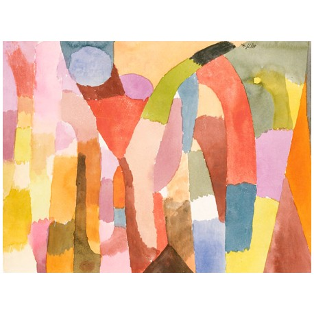 Paul Klee Movement of Vaulted Chambers Ready-to-hang picture in 100% cotton Canvas or Large variety of size and material.