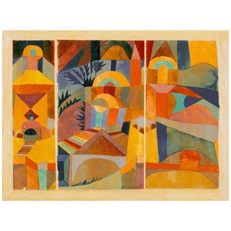 Paul Klee Temple Gardens, Quadro con Stampa Originale Fine Art per Soggiorno, Ufficio o altro