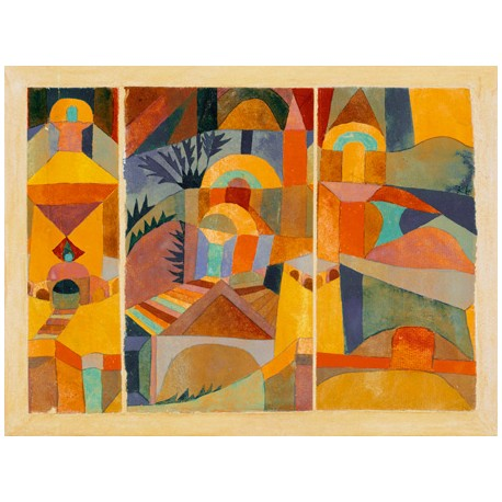 Paul Klee Temple Gardens, Ready-to-hang picture in 100% cotton Canvas or Large variety of size and material.
