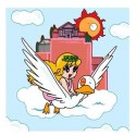Pollon e l'Oca-In Volo.Quadro Retouchè Pronto da appendere Originale su Licenza Yamato-Hideo Azuma Movie