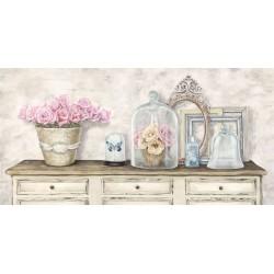 Remy Dellal, Composition en blanc - Quadro Floreale con rose in stile shabby su canvas di cotone al 100%