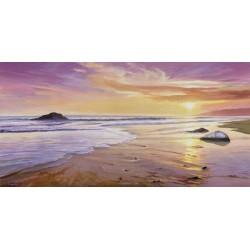 Galasso- Tramonto sul mare Risoluzione delle Classiche spiagge su Tela Canvas e possibilità di Ritocco Materico