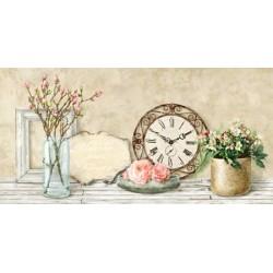Remy Dellal, Mon jarden I - Quadro Floreale con rose in stile shabby su canvas di cotone al 100%