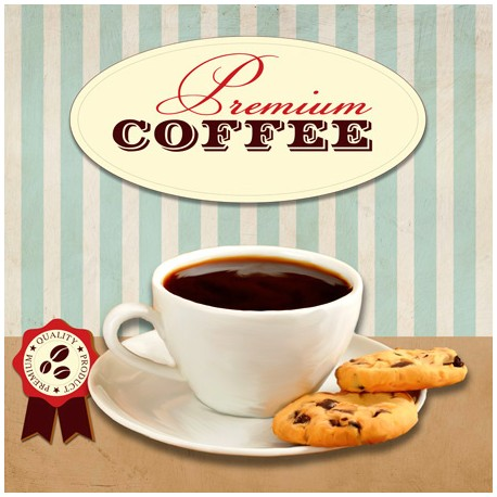 Premium Coffee,Skip Teller-Immagine per Home Decor con Misure e Supporti a Scelta