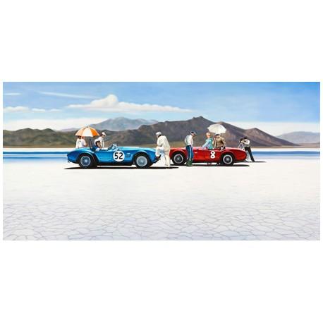 Bonneville Salt Plains,Pierre Benson - Quadro Figurativo con Auto d'epoca sulla spiaggia.Materiali e misure a scelta