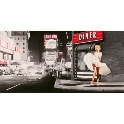 Love Her,Pierre Benson-Quadro con Immagine ispirata da Marylin Monroe su sfondo di New York, in bianco e Nero