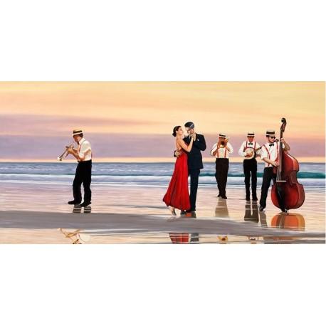 Romance on the Beach,Benson-Quadro Figurativo con Tango sulla spiaggia.Materiali e misure a scelta
